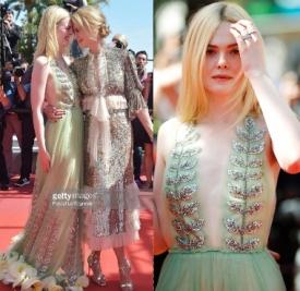 艾丽范宁身着Gucci2017秋冬连衣裙 与妮可基德曼一起走红毯